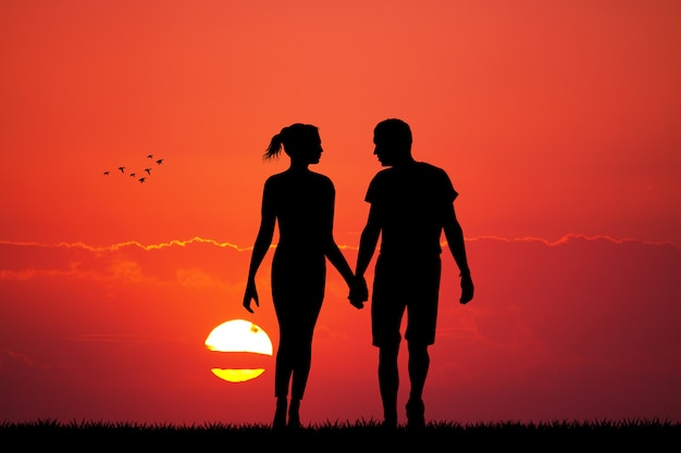 Illustration of lovers at sunset
