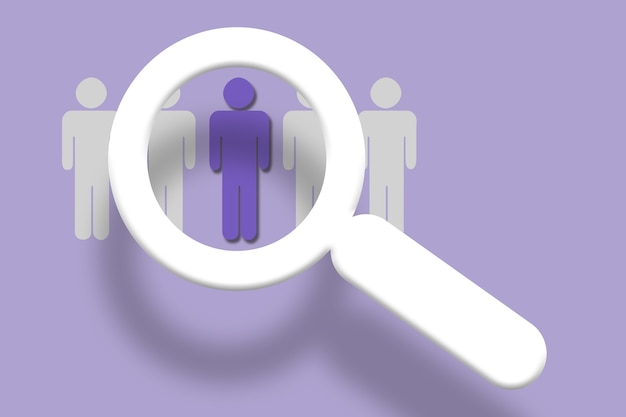 Illustration of magnifying glass over people concept in violet background