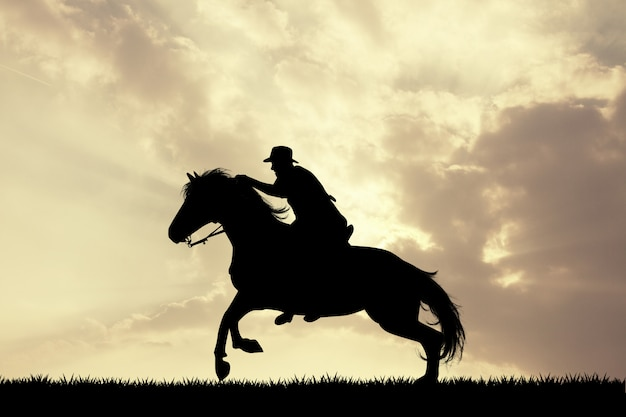 Illustration of man horseback at sunset