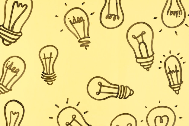 Illustration of many light bulbs on yellow background