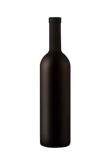 Illustration of matt wine bottle isolated on white background