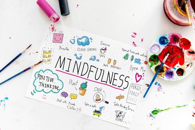 Illustrazione dell'attività artistica di mindfulness per il tempo libero