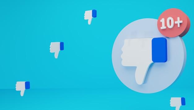 Illustration of a minimalist dislike notification icon isolated