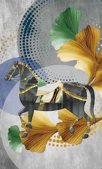 イラスト現代の壁フレーム馬と円と装飾的な要素と灰色の背景