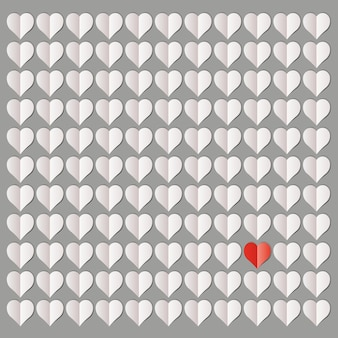 Illustration of more than a hundred white hearts with only one red heart
