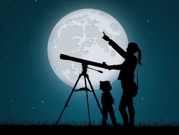 Illustration of mother and child looking the sky with telescope