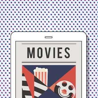 Illustrazione dell'intrattenimento multimediale del cinema su tablet digitale