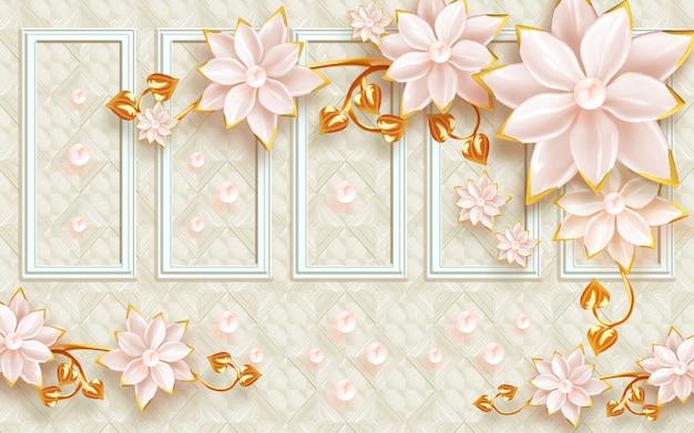 Иллюстрация настенная живопись обои золотые и белые цветы на классическом фоне и жемчуг