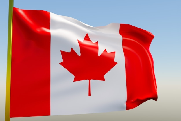 Illustration of the national flag of canada on a metal flagpole fluttering against the blue sky