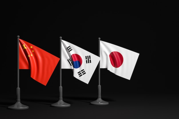Illustration of the national flags of china south korea and japan on a metal flagpole