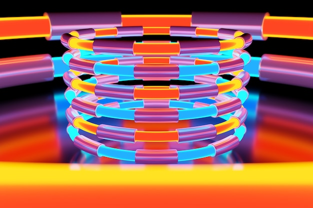 Illustration of a neon colorful ball  shines its rays in different directions on light background .