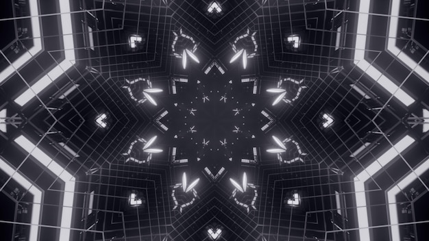 Illustration of neon lines and lights shining in monochrome abstract ornament