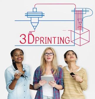 3d 프린팅 공예 혁신 기술의 일러스트레이션