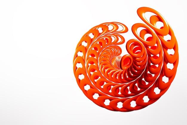 나선형의 형태로 3d 빨간 금속 체인의 그림.
