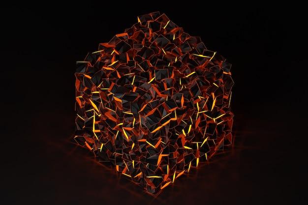 3d 행, 기하학적 배경 그림, 불타는 석탄 조각과 유사한 패턴을 짜 다. 금속 직사각형 및 정사각형. 단색 배경, 패턴에 후 두둑.