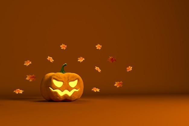 Иллюстрация 3d-рендера к празднику хэллоуина с тыквой и кленовыми осенними листьями