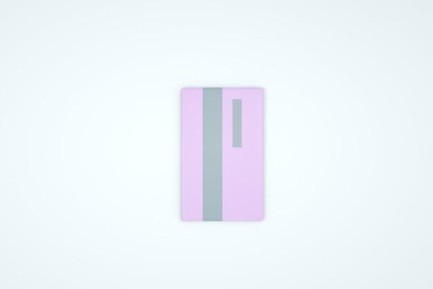 Иллюстрация банковской карты на белом изолированном фоне. розовая банковская карта. 3d модель розовой карты. крупный план, 3д графика