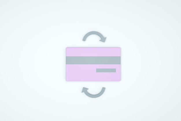 Иллюстрация банковской карты на белом изолированном фоне. розовая банковская карта. обменная операция, серые стрелки. крупный план, 3д графика