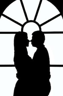 Иллюстрация черно-белого контура парня и девушки, обнимающихся на фоне витража