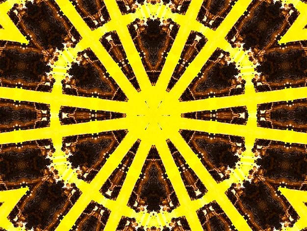 Иллюстрация яркого фрактального калейдоскопа вспышек и солнца со спиралями.