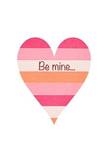 Be mine.postcards for valentine's day라는 글자가 새겨진 하트 그림입니다.