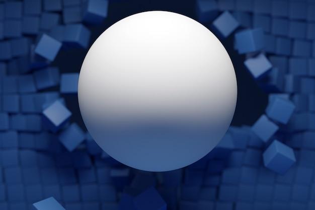 青い立方体の壁から飛び出す大きな白いボールのイラスト
