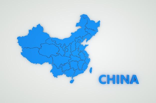 白い孤立した背景に中国の地図のイラスト。中国の地図作成。国、大陸。 3dグラフィックス。白い背景の上の青い地図