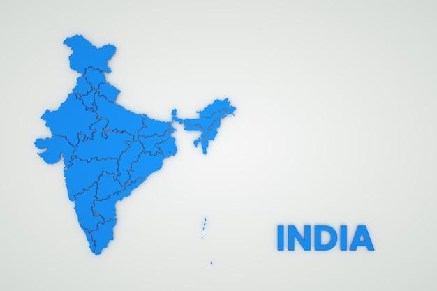 白い孤立した背景にインドの地図のイラスト。インドの地図。国、大陸。 3dグラフィックス。白い背景の上の青い地図