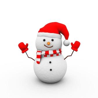 Иллюстрация снеговика в красных перчатках, шляпе и шарфе, изолированные на белом фоне