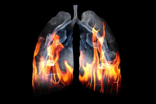 Иллюстрация образования ядовитого дыма и пламени в форме легкого человека