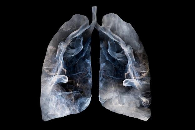 Иллюстрация образования токсичного дыма в форме легкого человека