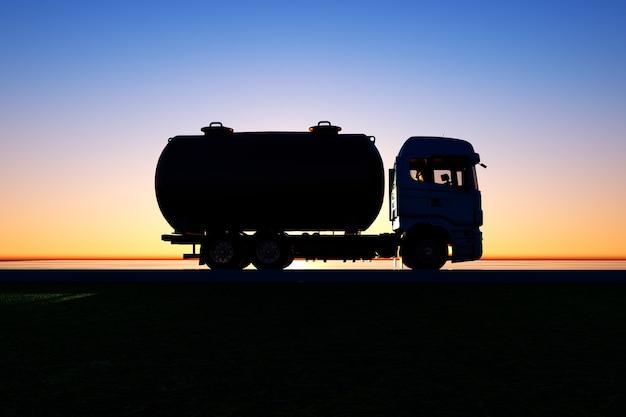 일몰의 배경에 진공 트럭의 그림 산업용 자동차 유조선 트럭