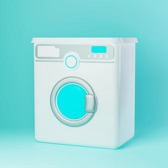 白いフロントローディング洗濯機のイラスト3dイラスト