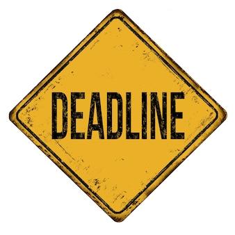 Иллюстрация желтого знака с надписью «крайний срок» на белом фоне