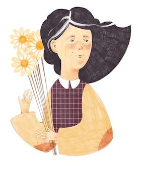 カモミールの花束を持っているそばかすを持つ少女のイラスト