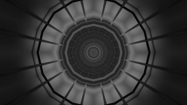 Иллюстрация абстрактного фона черно-белого бесконечного коридора в форме круга