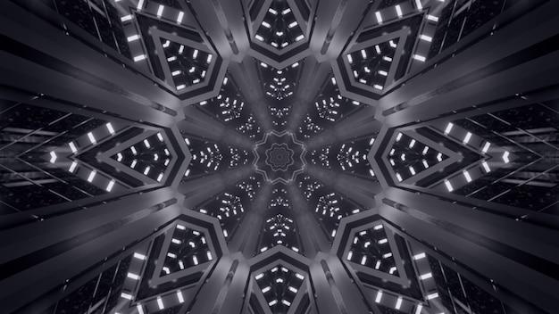 Иллюстрация абстрактного фона черно-белого калейдоскопического бесконечного коридора с неоновым светом
