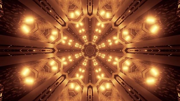 Иллюстрация абстрактного фона яркого геометрического коридора, освещенного светящимся светом сепии