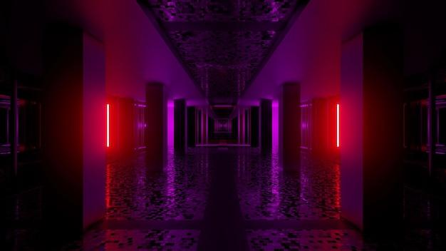 Иллюстрация абстрактного фона темного бесконечного туннеля с красной и фиолетовой подсветкой на стенах