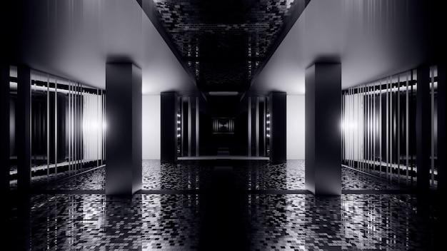 Иллюстрация абстрактного фона бесконечного черно-белого коридора с огнями на стенах