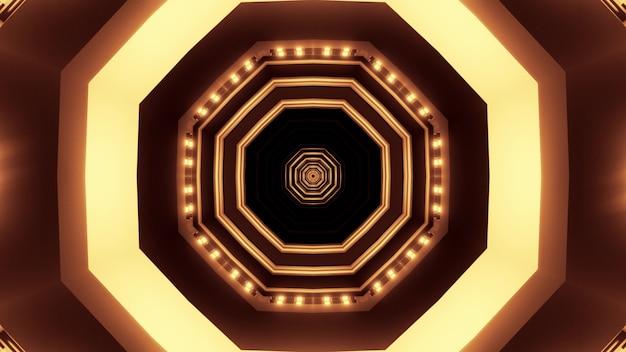 Иллюстрация абстрактного фона бесконечного туннеля круглой формы с ярким светом сепии