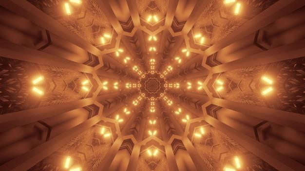 Иллюстрация абстрактного фона геометрического туннеля с светящимся светом сепии