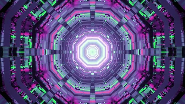 네온 조명으로 빛나는 둥근 모양의 기하학적 터널의 추상적 인 배경 그림