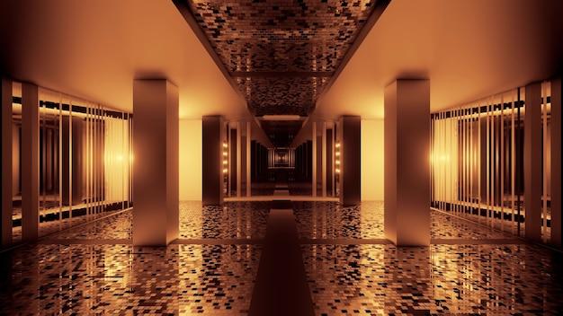 Иллюстрация абстрактного фона перспективного вида коридора с светящимся светом сепии