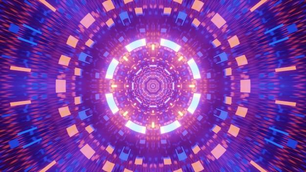 Иллюстрация абстрактного футуристического туннеля, освещенного сверкающими красочными неоновыми огнями