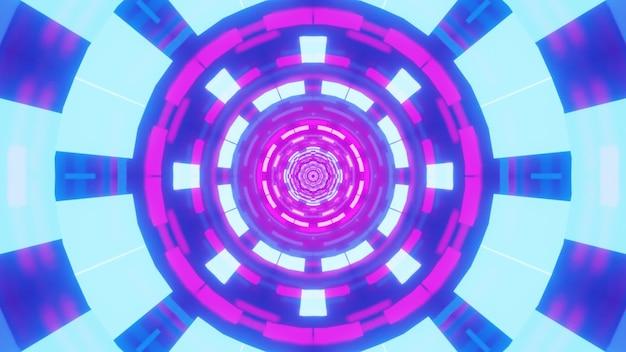 Иллюстрация абстрактного геометрического орнамента, светящегося яркими синими и фиолетовыми неоновыми огнями внутри сюрреалистического туннеля