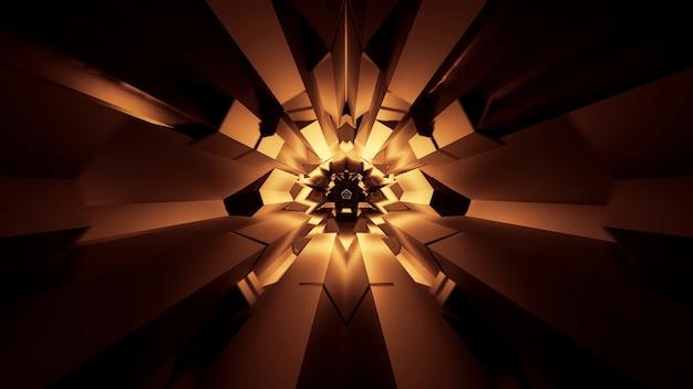 抽象的な輝くネオンライト効果のイラスト-未来的な空間に最適