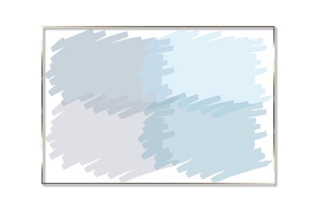 금색 사각형이 있는 브러시 모양의 파스텔 색상의 추상 로고 배경 그림