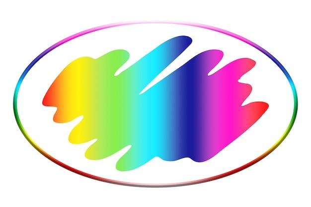 円形のブラシの形で虹色の抽象的なロゴの背景のイラスト