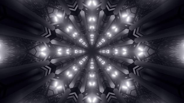 Иллюстрация абстрактного монохромного орнамента, образованного симметричными светящимися неоновыми огнями